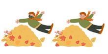 Joyful Little Boy Jumping Into...
