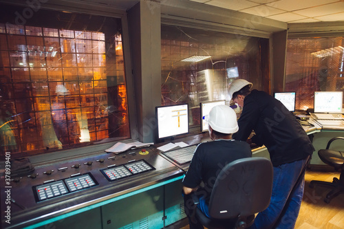 Control panel. Plant for the production of steel. Fototapet