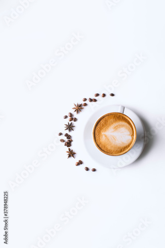 Fotografie, Obraz Coffee and grains of coffee on a white background
