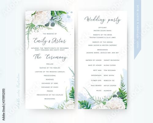 Fototapeta Wedding program card floral template set. Elegant stylish tender ivory white Rose flowers, asparagus fern leaves greenery bouquet frame & dusty blue watercolor paint splashes. Trendy & delicate design obraz