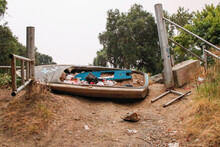 Abandoned Boat On The Ground