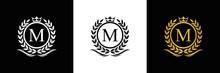 Golden Letter M Laurel Wreath Template Logo Luxury Gold Letter With Crown. Monogram Alphabet . Beautiful Royal Initials Letter.