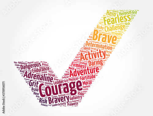 Courage check mark word cloud collage, concept background Fototapete