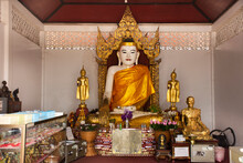 White Buddha Statue Burma Style In Church For Thai People And Foreign Travelers Travel Visit And Respect Praying At Wat Phra That Doi Kong Mu Temple On February 28, 2020 In Mae Hong Son, Thailand