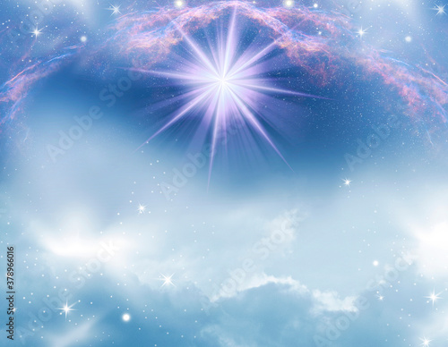 Fotografie, Obraz abstract mystic magic angelic spiritual divine magic religious backgroud with st