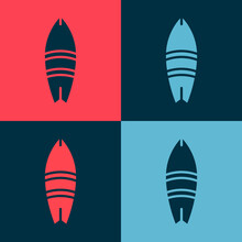 Pop Art Surfboard Icon Isolated On Color Background. Surfing Board. Extreme Sport. Sport Equipment. Vector Illustration.