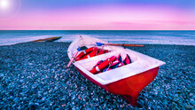 Red Broken Boat With Lifebuoy ...