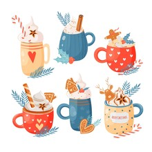 Christmas And Happy New Year Set. Cute Mugs With Hot Beverages Cacao, Tea, Coffee, Whipped Cream, Candy Cane, Gingerbread Man, Cookies, Pastry. Elements For Greeting Cards Design, Posters, Stickers.