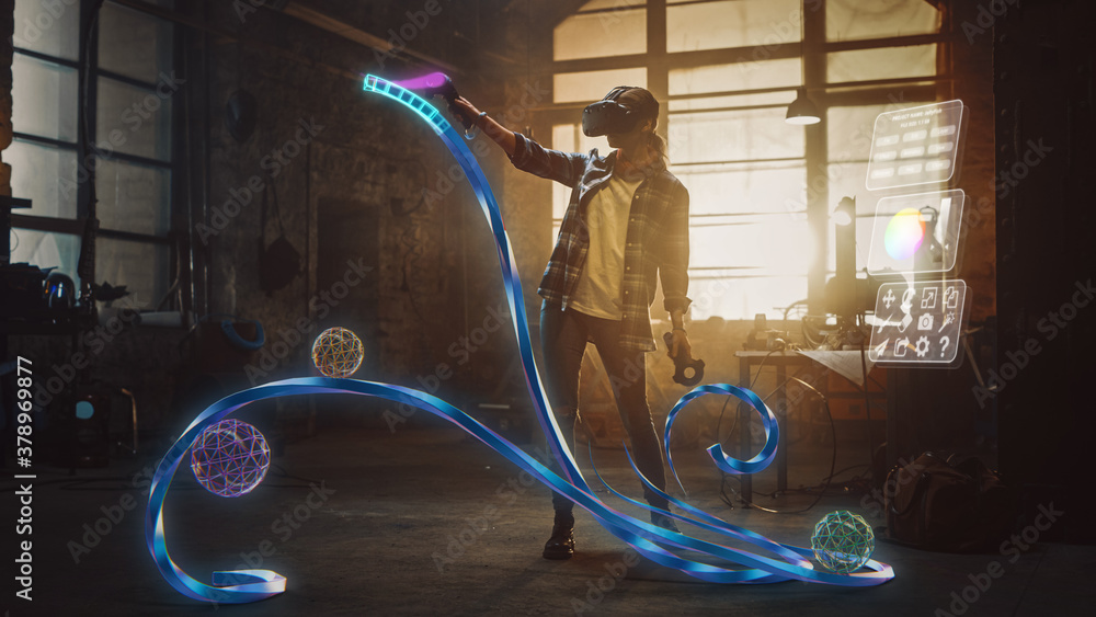 Fototapeta Talented Female Artist Wearing Augmented Reality Headset Working on Abstract 3D Sculpture with Controllers, Uses Gestures To Create Multimedia Internet Concept Art. 3D Animation Special Effect