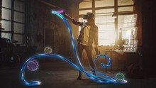 Talented Female Artist Wearing Augmented Reality Headset Working On Abstract 3D Sculpture With Controllers, Uses Gestures To Create Multimedia Internet Concept Art. 3D Animation Special Effect