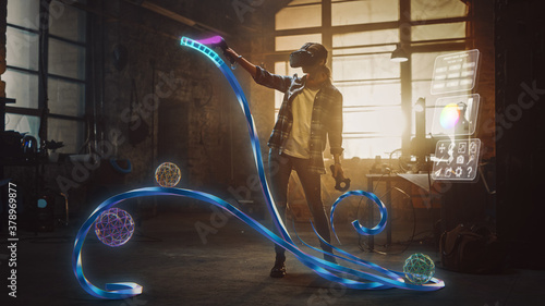 Fototapeta Talented Female Artist Wearing Augmented Reality Headset Working on Abstract 3D Sculpture with Controllers, Uses Gestures To Create Multimedia Internet Concept Art. 3D Animation Special Effect obraz