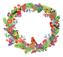 Watercolor Colorful Christmas Wreath With Squirrel, Forest Birds, Cones And Branches Tree. White Background.