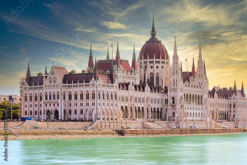 Fotografie, Obraz Hungarian Parliament Building during sunset