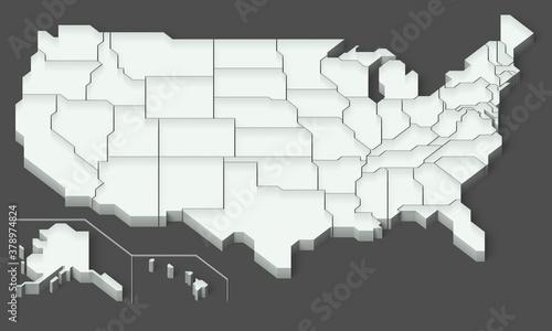 アメリカ合衆国の地図の3Dイラストレーション