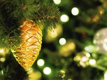 Decorative Golden Pine Cone On...