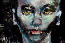 Alien, Abstract Portrait In Oils On Hardboard