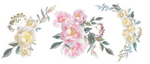 Watercolor Set With Bouquets Of Peonies And Herbs.