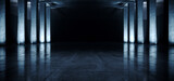 Fototapeta Perspektywa 3d - Industrial Large Dark Hangar Garage Spotlights Blue Glowing Empty Warehouse Tunnel Corridor Concrete Floor With Columns background Modern 3D Rendering