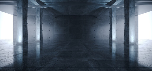 Large Bright Hangar Garage Glowing White Empty Warehouse Tunnel Corridor Concrete Floor With Columns Architecture Industrial Background Modern 3D Rendering