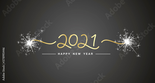 Fototapeta Happy New Year 2021 handwritten lettering tipography gold numbers sparkle firework black background banner obraz