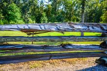 Split Log Rough Cut Wooden Fence