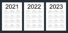 Simple Editable Vector Calendars For Year 2021, 2022, 2023. Week Starts From Sunday. Vertical. Isolated Illustration.