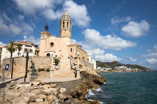 La iglesia De Sant Bartomeu y Santa Tecla church in Sitges, Garraf, Cataluña, España