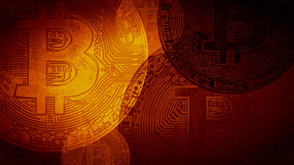 Stylish texture with the image of e-currency bitcoin