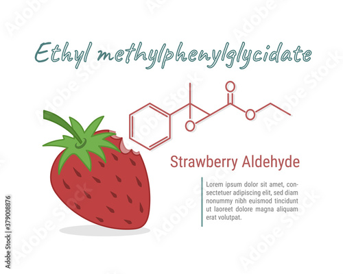 Photo Strawberry aldehyde chemical taste and aroma of strawberry vecter illustration