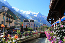 The Amazing Town Of Chamonix Mont Blanc In The French Alps, Haute Savoie