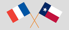 Crossed Flags Of France And The State Of Texas