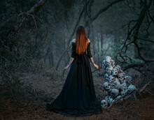Mysterious Silhouette Of A Ghost Woman In A Black Vintage Long Dress. Gothic Pagan Lady Near Many Skulls Of Dead People. The Vampire Walks In A Deep Dark Mystical Forest. Back Rear View