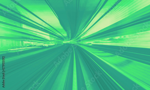 Fotomural Abstract high speed technology POV train motion blurred concept from the Yuikamo