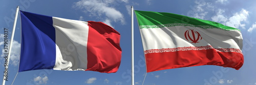 Flying flags of France and Iran on high flagpoles. 3d rendering Canvas-taulu