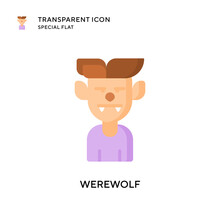 Werewolf Vector Icon. Flat Sty...