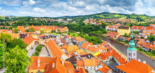 Photo City landscape, panorama, banner - view over the historical part Cesky Krumlov w