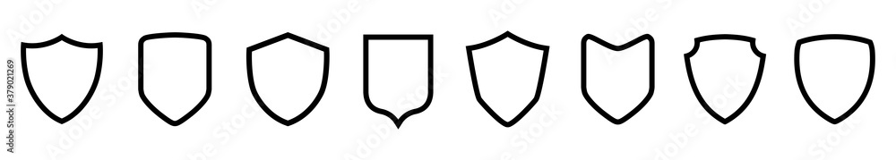 Fotografie, Obraz Set different shields icons, protect signs – vector for stock