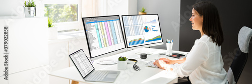 Fototapeta Analyst Working With Spreadsheet Business Data obraz