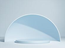 Mockup Podium, Abstract Geometric Design, Blue Background. 3d Render, 3d Illustration