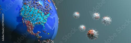 Fototapeta terrestrial globe, covid 19 coronavirus obraz