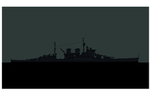 HMS Renown. Battlecruisers Of The Royal Navy On The Horizon. Silhouette Of World War 2 Combat Ship. Vector Image For Illustrations And Infographics.