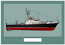 Military Ship. Small Patrol Boat. Poster With A Detailed Image Of A Warship. Vector Image For Illustrations And Infographics.