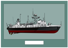 Military Ship. Patrol Ship. Poster With A Detailed Image Of A Warship. Vector Image For Illustrations And Infographics.