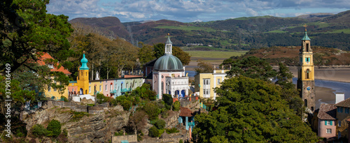 Fototapeta Stunning Panoramic View of Portmeirion in North Wales, UK