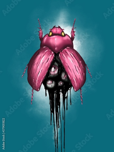 Canvas Illustration digital art pink bug with eyes