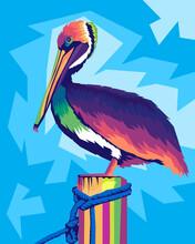 Pelican In Style Wpap Pop Art Beautiful Bird