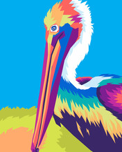 Colorful Pelican Bird In Style Wpap Pop