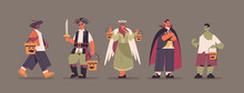 Set Mix Race People In Different Costumes Standing Together Happy Halloween Party Celebration Concept Flat Full Length Horizontal Vector Illustration