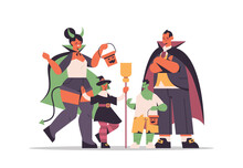 Parents And Cchildren In Different Costumes Standing Together Happy Halloween Party Celebration Concept Family Having Fun Flat Full Length Horizontal Vector Illustration