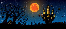 Halloween And Full Moon In The Dark Night.Dark Castle On Blue Moon Background. Ghost And Flying Bats, Tomb, Scary.